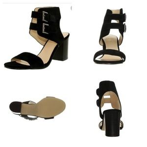 BNWOT NINE WEST GALICENO BLACK SUEDE SANDALS